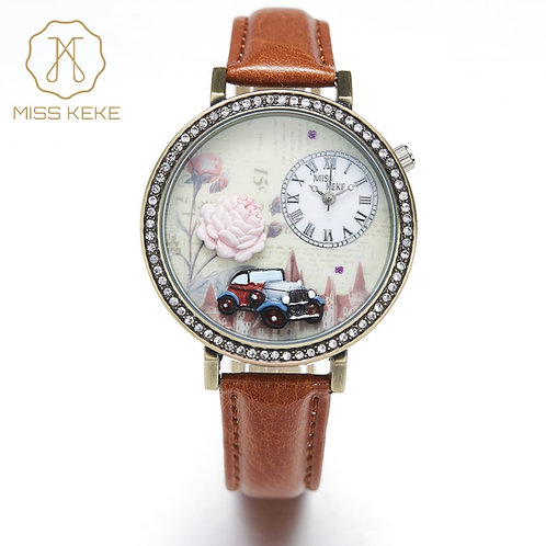 3d Clay Retro Car Floral Rose Design Vintage Rhinestone Watches