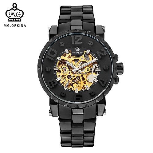 MG. ORKINA Men Wristwatch Golden Skeleton Clock Mechanical Male Wrist Watch