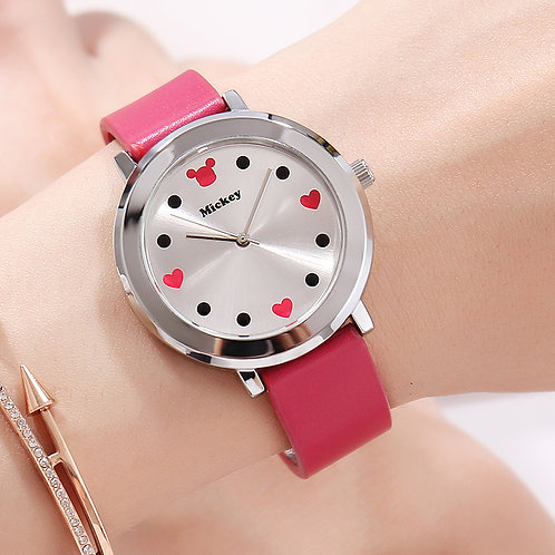 Disney Mickey Mouse Quartz Wristwatch Simple True Belt Ultra-Thin Dial Watch