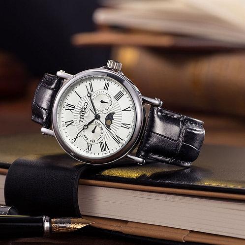 Men's Quartz Watches Auto Date Sun Phase Black Leather Strap Roman Numerals