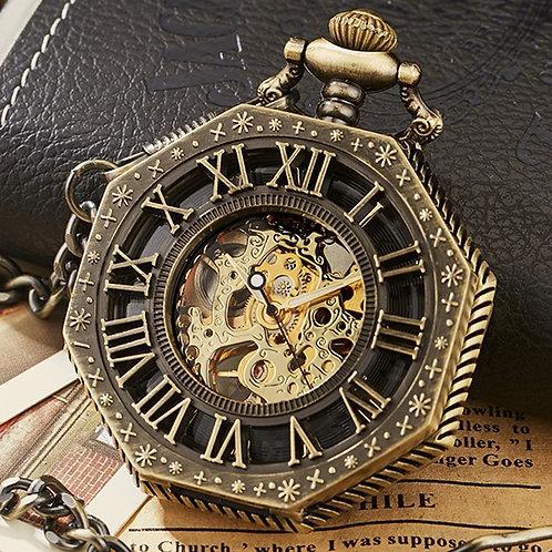 Vintage Skeleton Steampunk Mechanical Pocket Watch Polygon Hollow Bronze Silver
