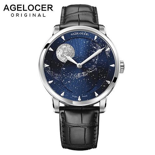 AGELOCER Moonphase Watch Vintage Switzerland Luxury Brand Mens Watches Sapphire