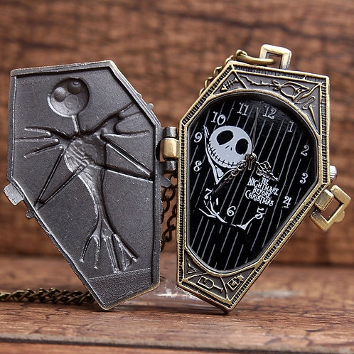 Antique Skull Nightmare Before Christmas Quartz Pocket Watch Necklace Chain Pend