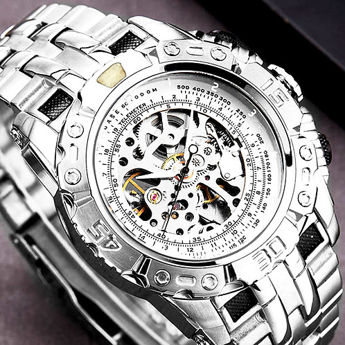 Luxury Silver Gold Automatic Mechanical Watch for Men Full Steel Skeleton
