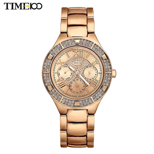 TIME100 Women's Quartz Watches Gold Silver Alloy Strap Rhinestone Waterproof