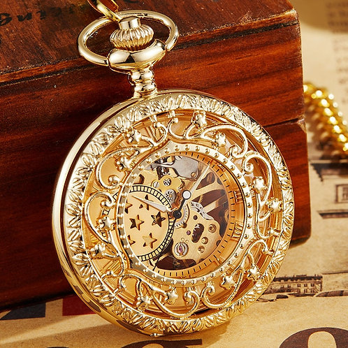 Retro Hollow Mechanical Pocket Watch With FOB Chain Gold Stars Skeleton