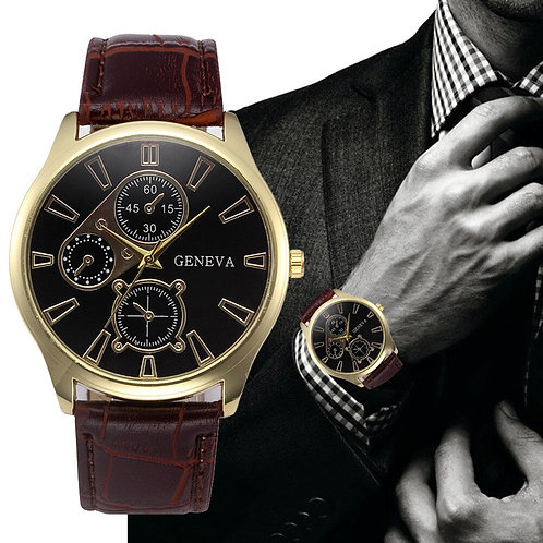 HOT Business Style Black Dial Watches Mens Brand Retro Design Leather