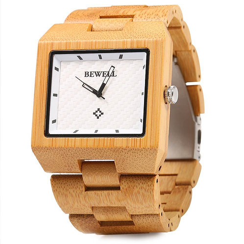 Bewell Wood Watch Men Fashion Wrist Watch, Wooden Band Rectangle Dial Analog