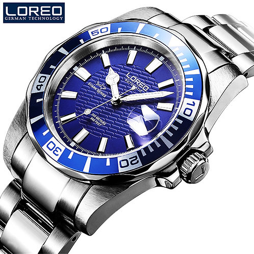 LOREO Men Diving Watch Sapphire Crystal Fashion Watches Waterproof Automatic