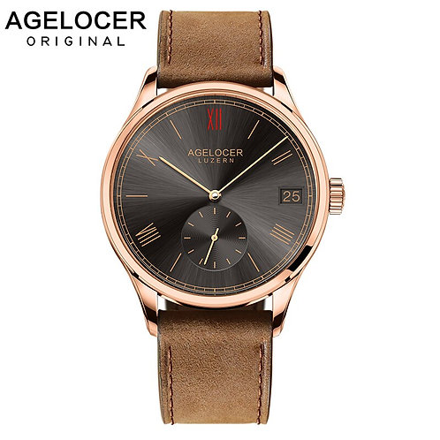 Agelocer Watch Dress Mechanical Wristwatches Luxury Gold Watch Brown Leather