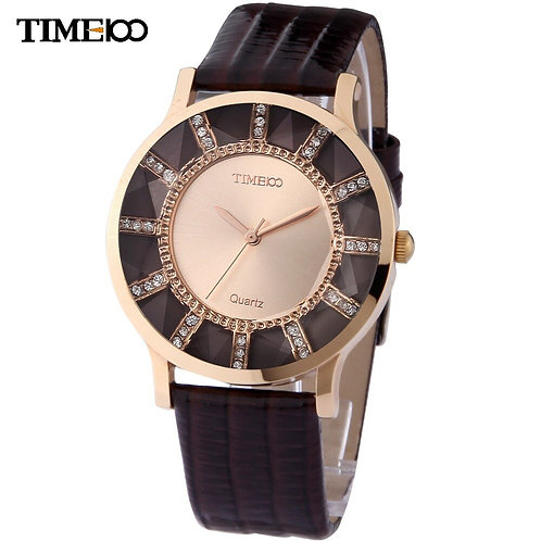 Luxury Brand TIME100 Leather Causal Watch Analog Display Women Dress Watch