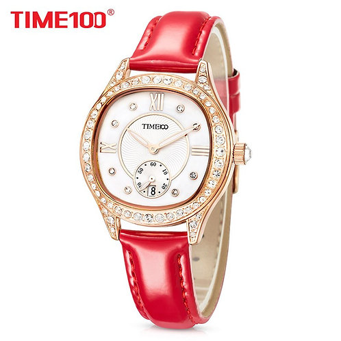 TIME100 New Women Watches Leather Strap Diamond Shell Big Dial Waterproof