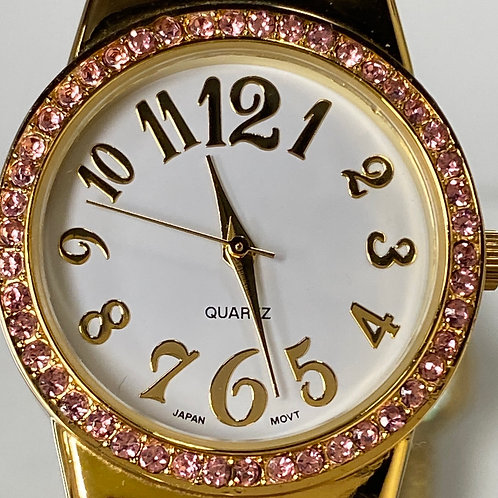 Ladies Beautiful Pink Stone Cuff Quartz Wristwatch
