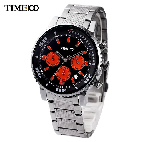 Time100 Men's Quartz Watch Casual Sport Metal Three Subdial Dial Steel Strap
