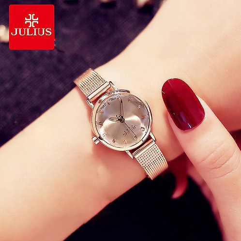 Julius Small Dial Women Watches Stainless Steel Mesh Ladies Watch