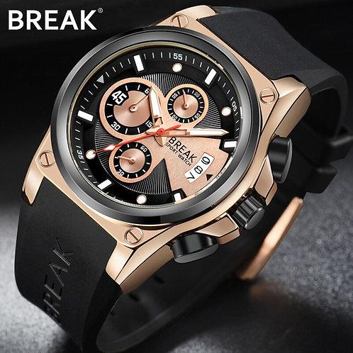 BREAK Men Luxury Popular Brand Fashion Unique Rubber Band Sport Wristwatches