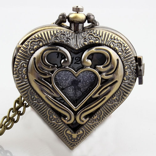 Retro Bronze Hollow Heart Shaped Black Silver Vintage Pocket Watch Necklace Pend