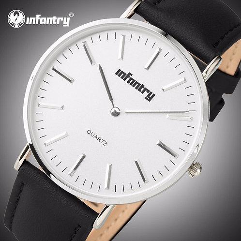 INFANTRY Mens Watches Top Brand Luxury 2020 Minimalist Black Leather Watch Men