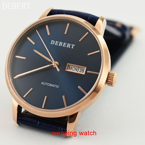 DEBERT Golden WATCHES Sapphire 40mm BLUE Dial Three GOLDEN Watch
