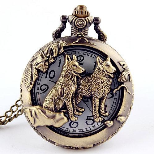 Retro Bronze Wolf Hollow Design Quartz Pocket Watch Mens Women Necklace Pendant