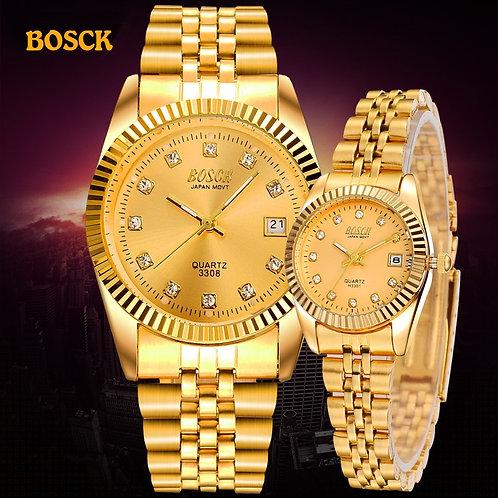 BOSCK Fashion Couples Wristwatches Mens Gold Luxury Brand Women Dress Watch