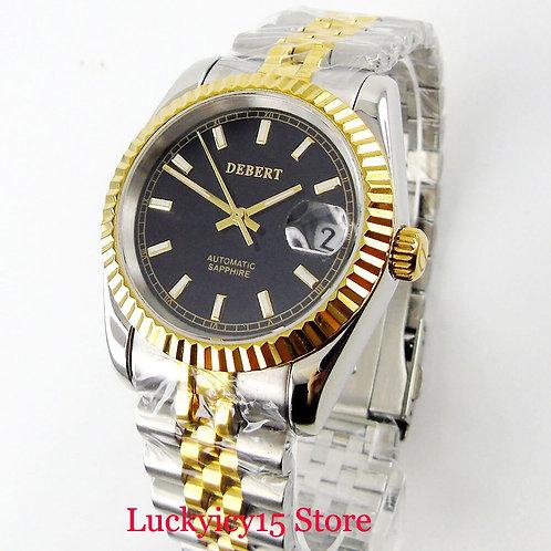 DEBERT Men's Watch Sapphire Glass 36mm Gold Plated Wristwatch Auto Date Classic