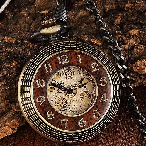 Unique Wood Circel Gear Dial Bronze Antique Mechanical Pocket Watch Men Vintage