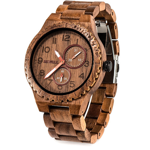 BEWELL Wooden Watch Men Quartz Date Casual Retro Reloj Hombre Lightweight