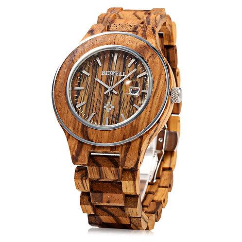 Bewell Watch Men Zebrano Wood Japan Movtment Quartz Watches, Male Fashion