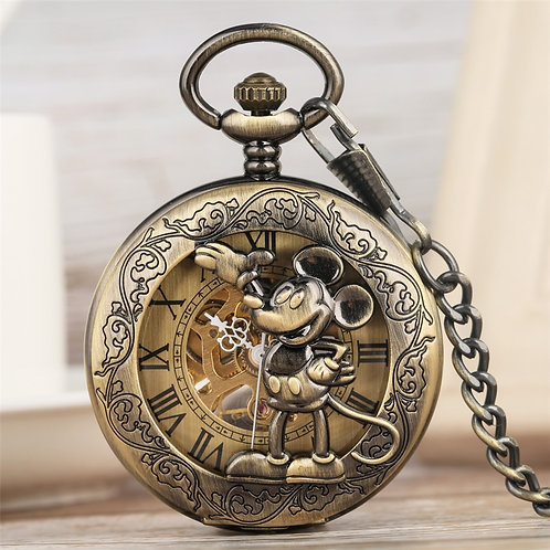 Classic Retro Mickey Mouse Display Mechanical Hand Wind Pocket Watch Bronze Pend