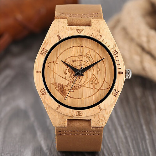 Casual Men Women Wood Watch Special Large Shark Pattern Genuine Leather Strap