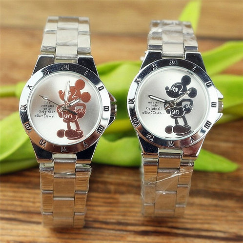Disney Mickey Mouse Minnie Kids Student Cartoon Watch Aolly Steel Quartz