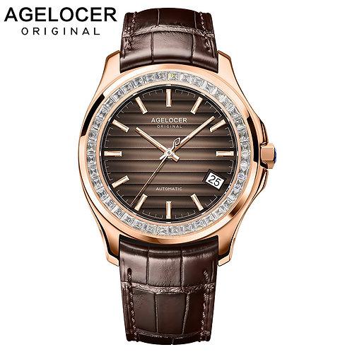 Watch Men Brown Power Reserve 80h Self-Wind Mechanical Watch Gold Business