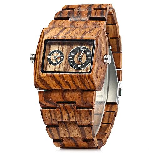 BEWELL Quartz Watch Men Wood Watches, Dual Time Zones Male Dress Watch