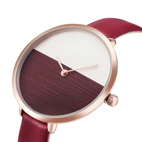 2019 Hot Sale Simple Style Red Leather Quartz Watches Women Fashion Watch
