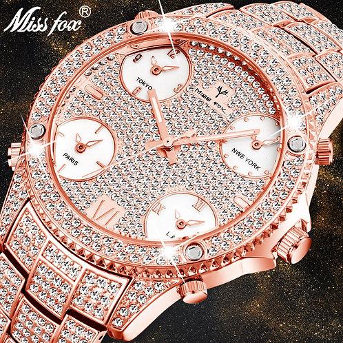 MISSFOX Rose Gold Men's Luxury Watch Luminous Waterproof 51MM