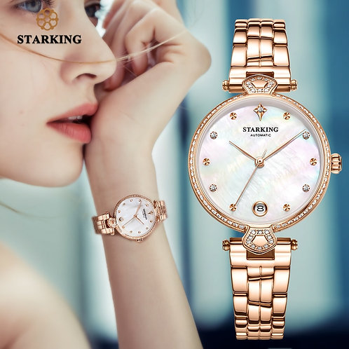 STARKING Luxury Women Watches Rose Gold Stainless Steel Diamond Ladies Watch