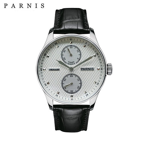 43mm Parnis Automatic Mens Watch Power Reserve Mechanical Watches Classic Men