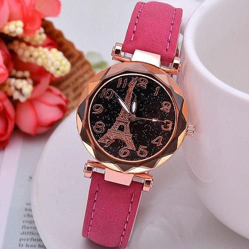 1PC Tower Pattern Rhinestone Women Quartz Wrist Watches Ladies Watch Leather
