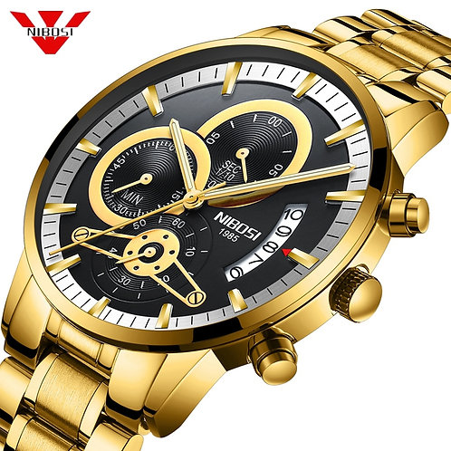 NIBOSI Mens Watches Luxury Top Brand Gold Watch Men Relogio Masculino Automatic