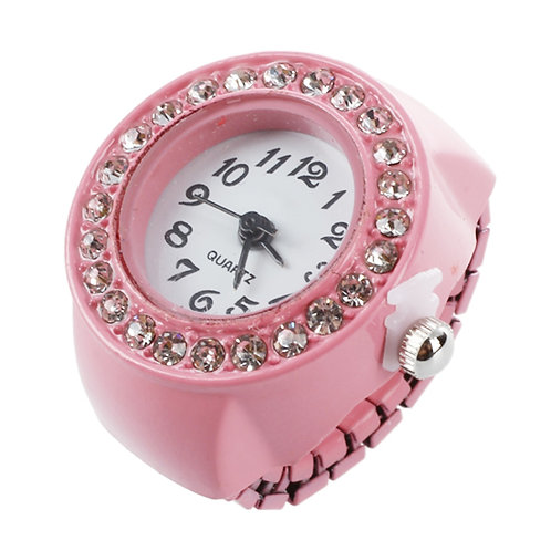 Girl Pink Alloy Pocket Finger Ring Watch Rhinestone Round Dial