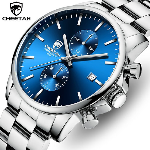 Men Watch CHEETAH 2020 New Mens Luxury Silver Blue Stainless Steel Watch