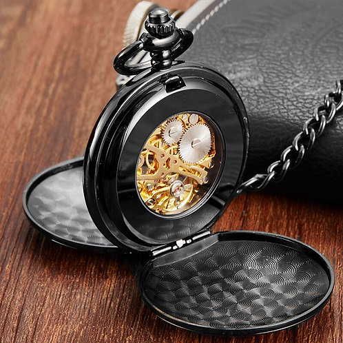 Luxury Gold Dial Black Mechanical Pocket Watch Skeleton Pendant Fob Chain