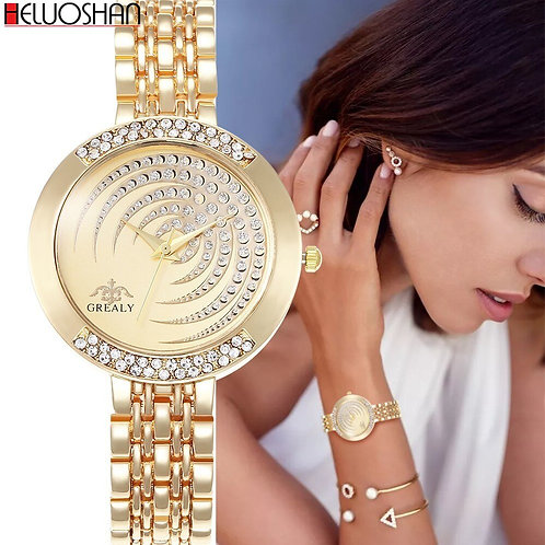 Hot Brand Luxury Bracelet Women Watches Fashion Quartz Crystal Rhinestone Watch