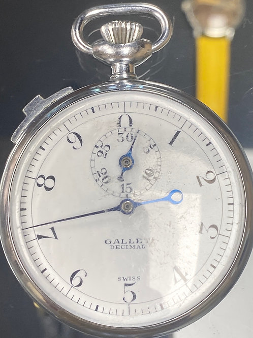 Vintage Swiss Gallet Decimal Stop Watch