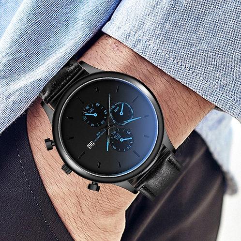 Men Business Watch Black Staineless Steel Leather Strap Luxury Date Wrist Watch