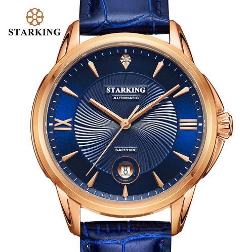 STARKING Men Watch 5bar Automatic Mechanical Watch Blue Leather