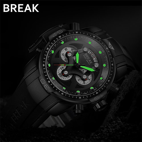 BREAK Men Top Luxury Brand Rose Gold Casual Fashion Rubber Band Military