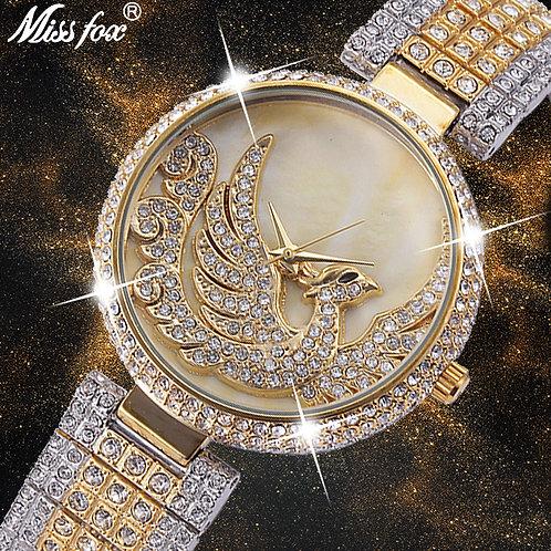 MISSFOX Phoenix Watch Women Rhinestone Imported Japan Quartz Watch Gold