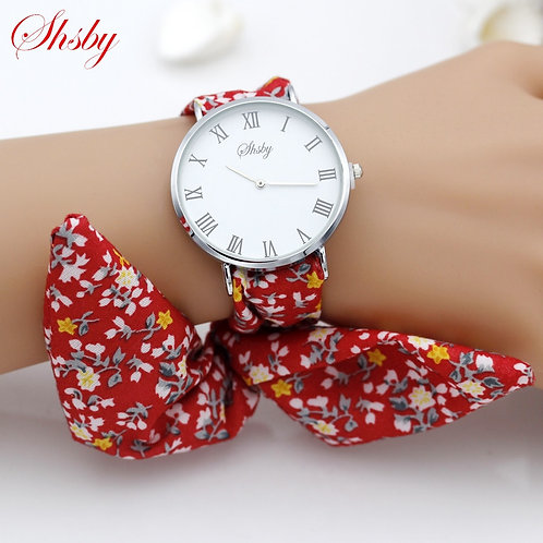 Shsby Brand New Lady Flower Cloth Wristwatch Roman Silver Women Dress Watch